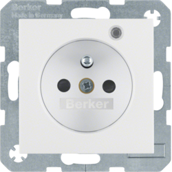 6765091909 Socket outlet with earth contact pin and monitoring LED with enhanced touch protection,  Screw-in lift terminals,  polar white matt