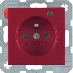 6765091915 Socket outlet with earth contact pin and monitoring LED with enhanced touch protection,  Screw-in lift terminals,  red matt