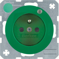 6765092003 Socket outlet with earthing pin and control LED with enhanced touch protection,  Screw-in lift terminals,  green glossy