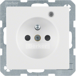 6765096089 Socket outlet with earth contact pin and monitoring LED with enhanced touch protection,  Screw-in lift terminals,  polar white velvety