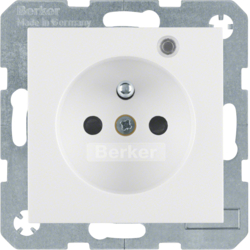 6765098989 Socket outlet with earth contact pin and monitoring LED with enhanced touch protection,  Screw-in lift terminals,  polar white glossy