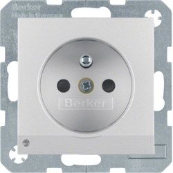 6765101404 Socket outlet with earthing pin and LED orientation light enhanced contact protection,  Screw-in lift terminals,  aluminium matt