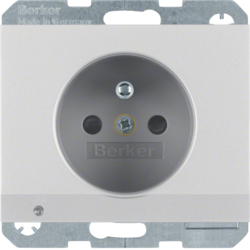 6765107003 Socket outlet with earthing pin and LED orientation light enhanced contact protection,  Screw-in lift terminals,  Berker K.5, aluminium,  matt,  lacquered