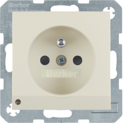 6765108982 Socket outlet with earthing pin and LED orientation light enhanced contact protection,  Screw-in lift terminals,  white glossy