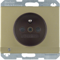 6765109011 Socket outlet with earthing pin and LED orientation light enhanced contact protection,  Screw-in lift terminals,  Berker Arsys,  light bronze,  lacquered