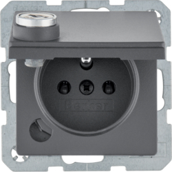 6765116086 Socket outlet with earthing pin and hinged cover with lock - differing lockings,  with screw-in lift terminals,  Berker Q.1