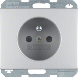 6765757003 Socket outlet with earthing pin with enhanced touch protection,  with screw-in lift terminals,  Berker K.5, Aluminium,  aluminium anodised