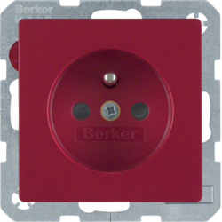 6765766012 Socket outlet with earthing pin with enhanced touch protection,  with screw-in lift terminals,  red velvety