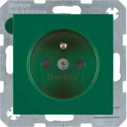 6765768963 Socket outlet with earthing pin with enhanced touch protection,  Screw-in lift terminals,  green glossy