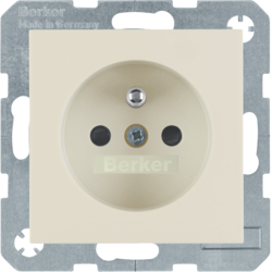6765768982 Socket outlet with earthing pin with enhanced touch protection,  Screw-in lift terminals,  Berker S.1, white glossy