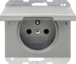 6765777104 Socket outlet with earthing pin and hinged cover with enhanced touch protection,  with screw-in lift terminals,  Berker K.5, stainless steel,  metal matt finish
