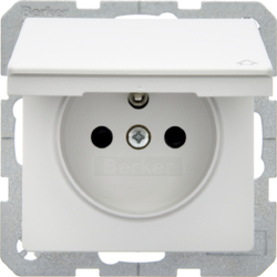 6765836089 Socket outlet with earthing pin and hinged cover with enhanced touch protection,  with screw-in lift terminals,  polar white velvety