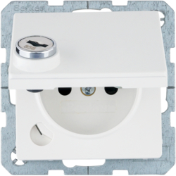 6768116089 Socket outlet with earthing pin and hinged cover with lock - differing lockings,  Berker Q.1, polar white velvety