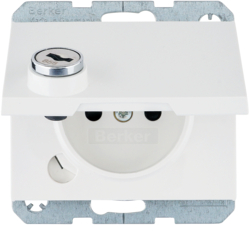 6768117009 Socket outlet with earthing pin and hinged cover with lock - differing lockings,  Berker K.1, polar white glossy