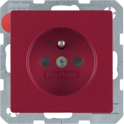 6768766012 Socket outlet with earthing pin with enhanced touch protection,  red velvety