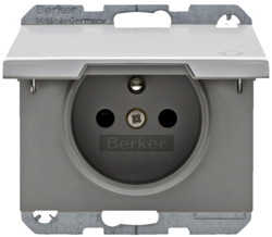 6768777103 Socket outlet with earthing pin and hinged cover with enhanced touch protection,  Berker K.5, Aluminium,  aluminium anodised