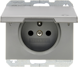 6768777104 Socket outlet with earthing pin and hinged cover with enhanced touch protection,  Berker K.5, stainless steel,  metal matt finish