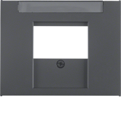 6810347006 Centre plate with TDO cut-out Labelling field,  Berker K.1, anthracite matt,  lacquered