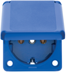 7429635 Built-in SCHUKO socket outlet with hinged cover 50 x 60 mm IP44 Screw terminals,  Built-in socket outlets,  blue