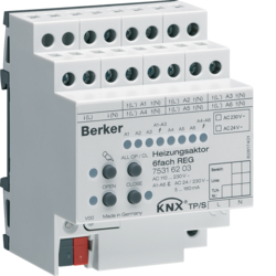 75316203 Heating actuator 6gang Triac RMD,  24 V/230 V AC with screw terminals,  KNX,  light grey