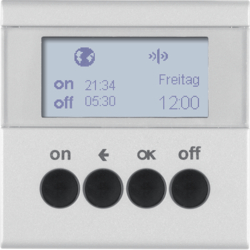 85745283 KNX radio timer quicklink with display,  aluminium,  matt,  lacquered