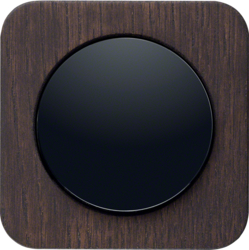 Oak, stained wood /<br />Plastic, black glossy