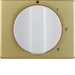 10870102 Centre plate with rotary knob for 3-step switch with neutral-position,  Berker Arsys,  gold/polar white,  matt/glossy,  aluminium anodised