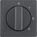 10966086 Centre plate with rotary knob for 3-step switch with neutral-position,  Berker Q.1/Q.3/Q.7/Q.9, anthracite velvety,  lacquered