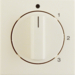 10968982 Centre plate with rotary knob for 3-step switch with neutral-position,  white glossy