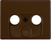 12010111 Centre plate for aerial socket 2-/3hole Berker Arsys,  brown glossy