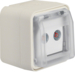 12033522 Aerial socket 2hole with hinged cover surface-mounted,  throughpass socket Berker W.1, polar white matt