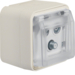 12033532 Aerial socket 3hole with hinged cover surface-mounted,  single socket Berker W.1, polar white matt