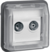 12033545 Aerial sockets insert 2hole with hinged cover surface-mounted,  single socket Berker W.1, grey matt
