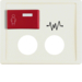12180002 Centre plate with 2 plug-in openings,  imprint and red button at top Berker Arsys,  white glossy