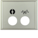12429004 Centre plate with 2 plug-in openings and imprinted symbols,  for call unit Berker Arsys,  stainless steel matt,  lacquered