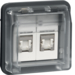 14103505 FCC socket outlet insert 8/8pole shielded with hinged cover surface-mounted/flush-mounted,  cat.6 with labelling field,  Berker W.1, light grey matt