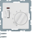 20306089 Temperature controller,  NC contact,  with centre plate with rocker switch,  polar white velvety
