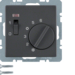 20316086 Temperature controller,  NC contact,  with centre plate,  24 V AC/DC with rocker switch,  anthracite velvety,  lacquered