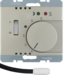 20349004 Thermostat,  NO contact,  with centre plate,  for underfloor heating with rocker switch,  external temperature sensor,  Berker Arsys,  stainless steel matt,  lacquered