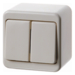 300840 Surface-mounted double change-over switch,  isolated input terminals Surface-mounted,  white glossy