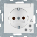 41081909 SCHUKO socket outlet with overvoltage protection with labelling field,  Screw terminals,  polar white matt
