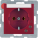 41081962 SCHUKO socket outlet with overvoltage protection with labelling field,  Screw terminals,  red matt