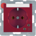 41088962 SCHUKO socket outlet with overvoltage protection with labelling field,  Screw terminals,  red glossy