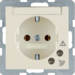41088982 SCHUKO socket outlet with overvoltage protection with labelling field,  Screw terminals,  white glossy