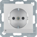 41091404 SCHUKO socket outlet with LED orientation light enhanced contact protection,  Screw-in lift terminals,  aluminium,  matt,  lacquered