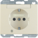 41100002 SCHUKO socket outlet with control LED with labelling field,  enhanced contact protection,  Screw-in lift terminals,  Berker Arsys,  white glossy