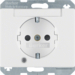 41100069 SCHUKO socket outlet with control LED with labelling field,  enhanced contact protection,  Screw-in lift terminals,  Berker Arsys,  polar white glossy