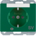 "41100073 SCHUKO socket outlet with control LED and ""SV"" imprint with labelling field,  enhanced contact protection,  Screw-in lift terminals,  Berker Arsys,  green glossy"