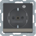 41106086 SCHUKO socket outlet with control LED with labelling field,  enhanced contact protection,  Screw-in lift terminals,  anthracite velvety,  lacquered