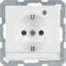41106089 SCHUKO socket outlet with control LED with labelling field,  enhanced contact protection,  Screw-in lift terminals,  polar white velvety